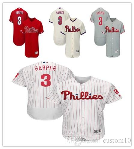 cb3eee0d7 Men s Women s Youth Philadelphia 3 Bryce Harper Custom Baseball Jersey  Phillies