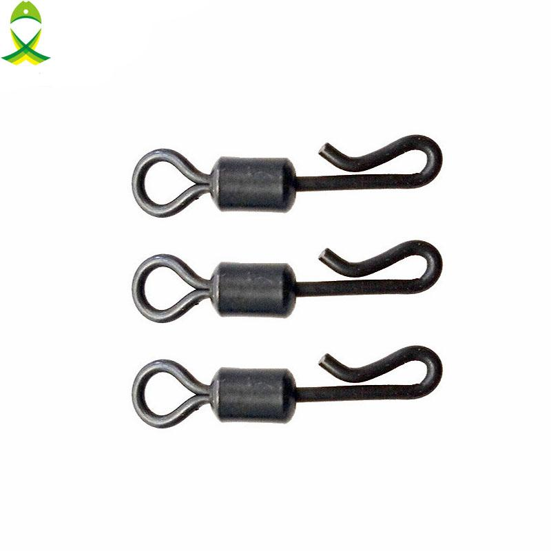snap stone JSM 50pcs Matte Black Rolling Quick Change Swivels Carp Rigs Long Body Swing Snap Connector for Carp Fishing hooks swivels