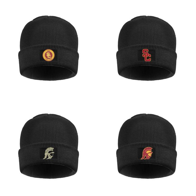 USC Trojans Basket Calcio logo Mens donne Double Layer Wool Cap Moda Knit unisex rotonda Logo camuffamento USA flag