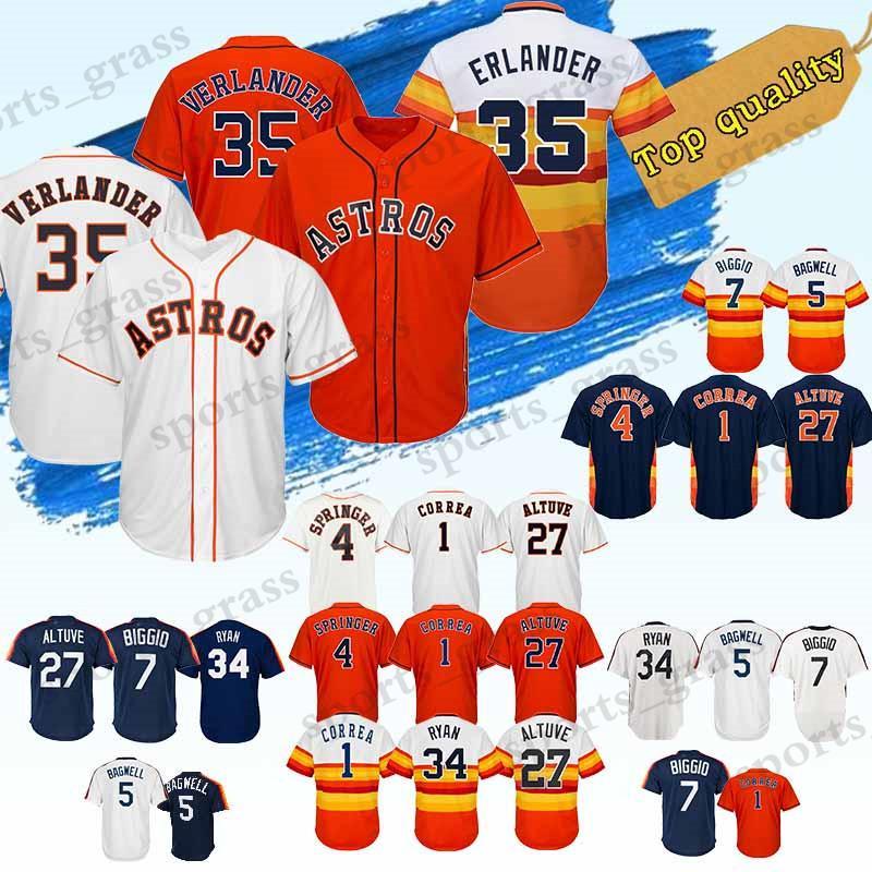 cheap for discount b5661 c0a6f Houston Jersey Astros 35 Justin Verlander Jerseys 2 Alex Bregman 27 Jose  Altuve 4 George Springer 1 Carlos Correa 34 Nolan Ryan Jersey