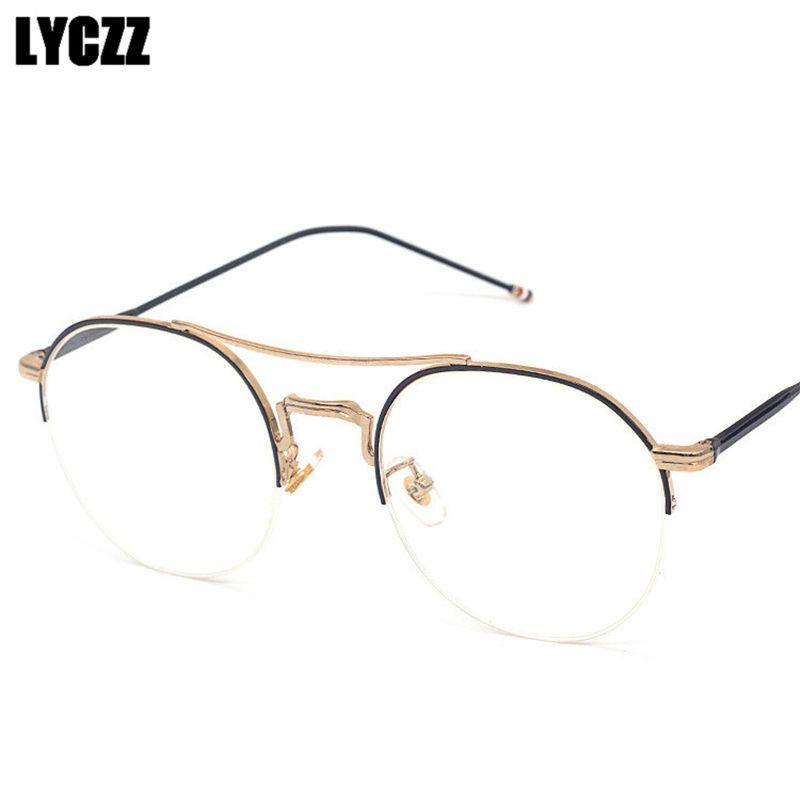 Compre LYCZZ Retro Armações De Óculos Mulheres Rodada Óculos Metade Do  Quadro De Metal Moldura Óptica Para Homens De Design Da Marca Miopia Óculos  De ... abe826a901