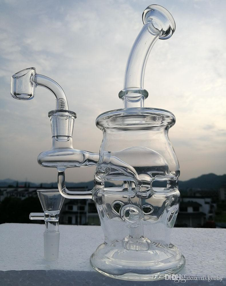 cheapest Newest glass recycler Bong Oil Rigs Glass Design Eggosphere combo  of ball rig water pipe with quartz banger