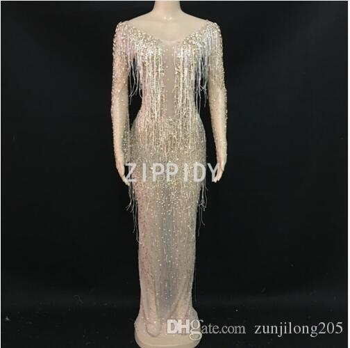 8a021afb03458 2019 Flashing Gold Rhinestones Tassel See Through Mesh Dress Women S  Birthday Celebrate Dress Costume Nightclub Dance Outfit Dress From  Zunjilong205