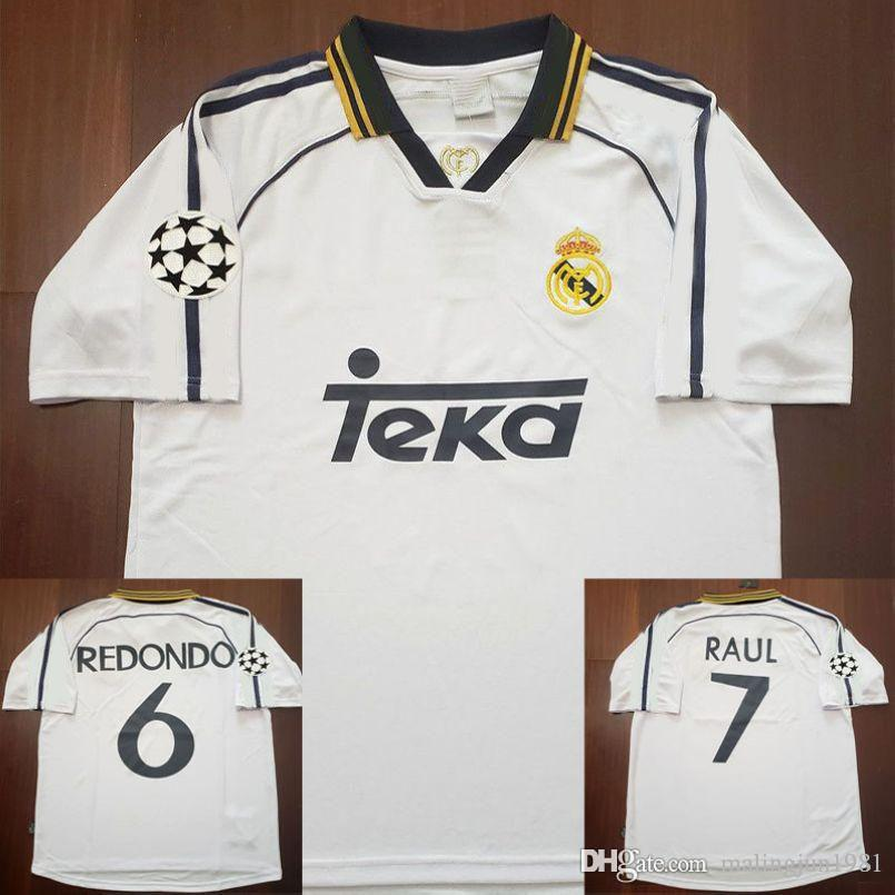 official photos d743f 3afdd 98 99 00 Real Madrid Retro Soccer Jersey RAUL Football Shirts 1998 1999  2000 Redondo Carlos Seedorf Vintage Classic Camiseta de Futbol