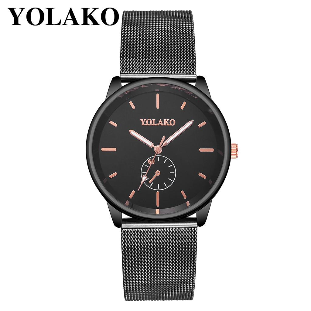 YOLAKO Men's Watch Stainless Steel Mesh Belt With Simple Mirror Quartz mens watches man watch 2019 male clock