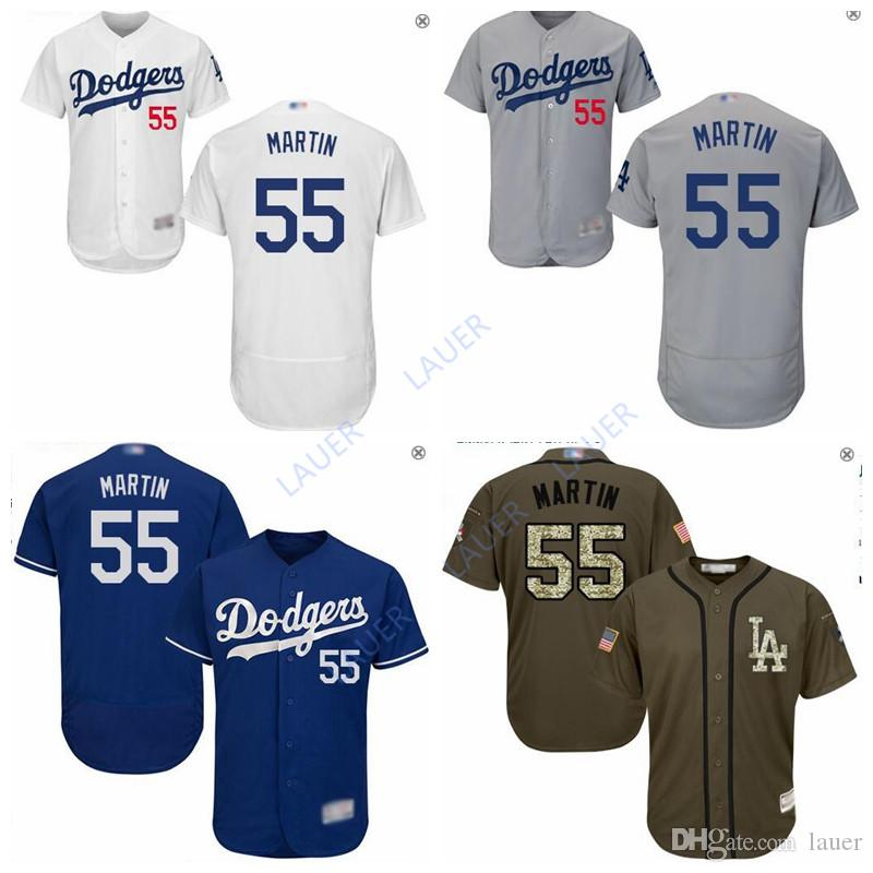 brand new ca2c3 e6dfe Dodgers #55 Russell Martin Los Angeles Green Salute to Service Stitched  Jersey Blue Wihte Gray