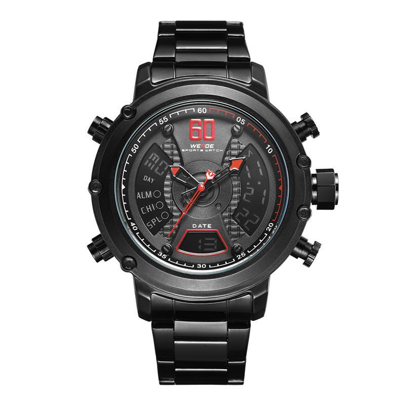 5a82dd4ab7aa Compre WEIDE Top Marca De Lujo Analógico Digital De Doble Pantalla De  Cuarzo Hombres Reloj Deportivo De Cuarzo Correa De Acero Inoxidable Reloj De  Negocios ...