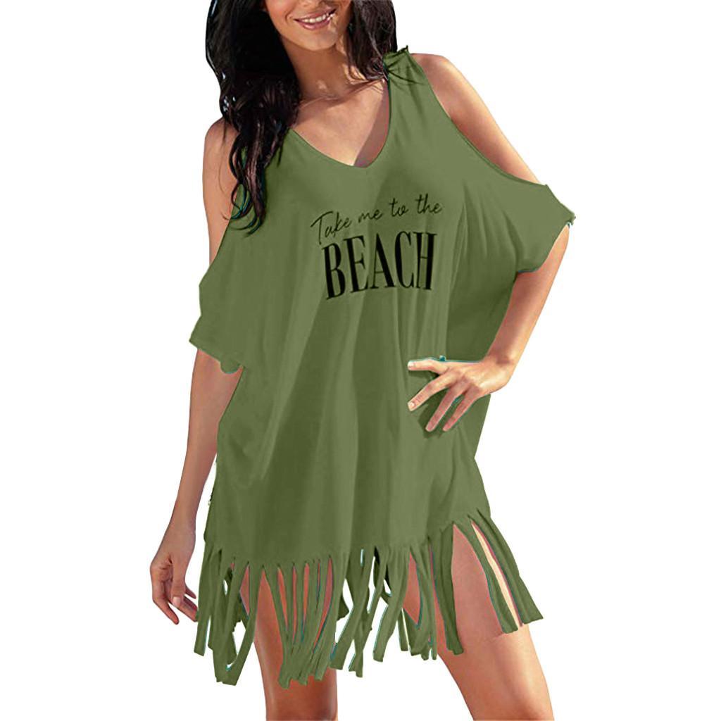 512cd0fff8c1 Acquista Womens Summer Dress Nespole Lettere Stampa Baggy Party Dress  Costumi Da Bagno Bikini Cover UPS Spiaggia Vestidos De Fiesta De Noche A   44.93 Dal ...