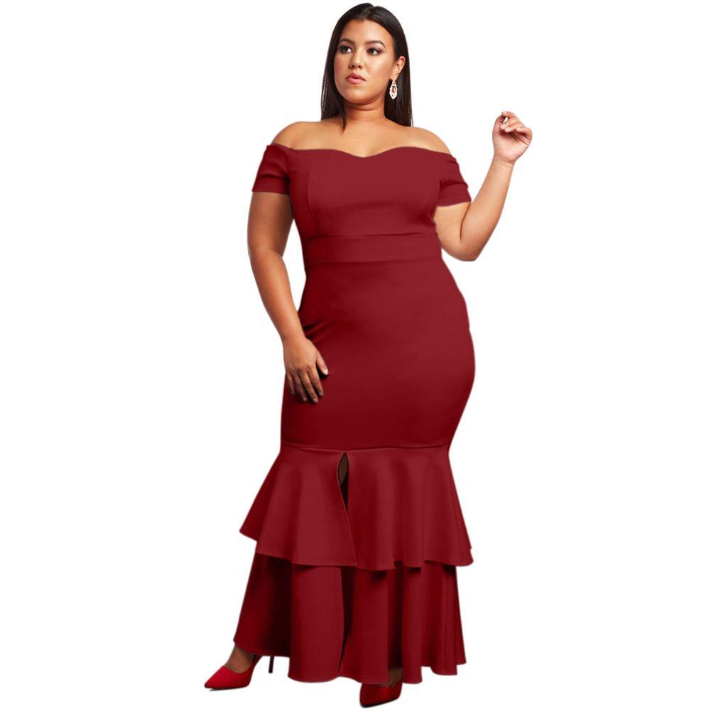 a9a2256d156 Acheter 2019 Nouveau Plus La Taille 5XL Robe De Sirène À Volants Femmes Élégant  Bleu Maxi Moulante Robes Noir Blanc Vin Rouge De  22.9 Du Jc801