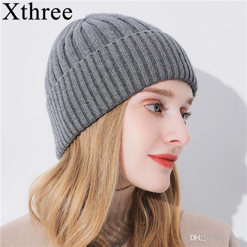 3f2c35b70c4 Xthree Winter Beanie Hat For Women Girl  S Wool Skullies Beanies Glittering  Silk Knitted Hat Gorro Cap Slouch Beanie Ski Hats From Tenni