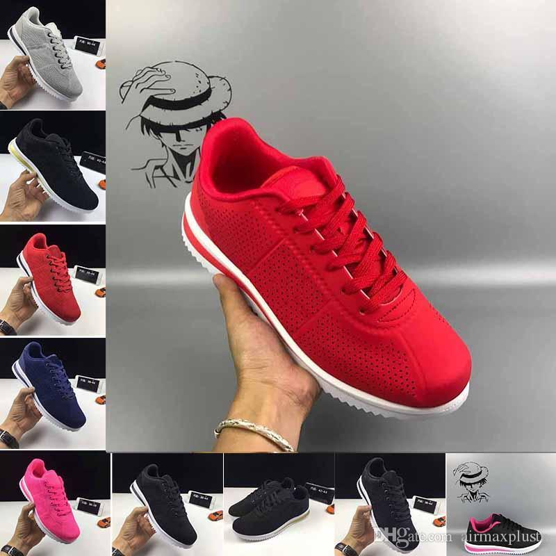 Europe wholesale new product 2019 Cortez Basic Leather Casual Shoes women's latest shoes Golden Three black men's shoes