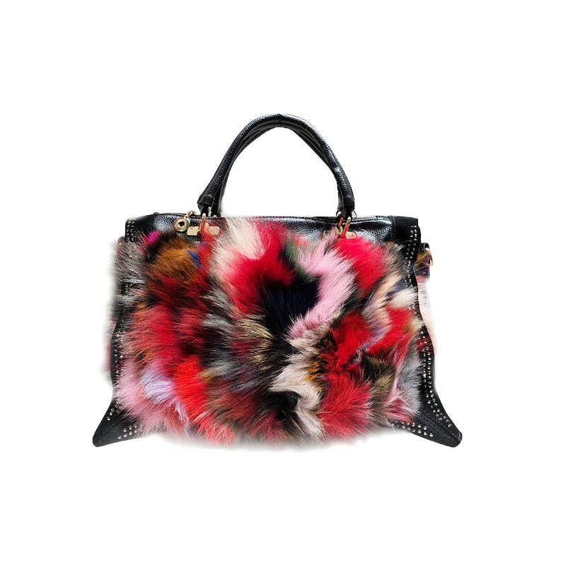2f060fa4f8 Colorful Fox Fur Women S Bag 2018 Winter New Trend Shoulder Bag Female  Messenger Handbag Fox Hair+ Leather +Rivet Black Clutch Satchel Handbags  From ...