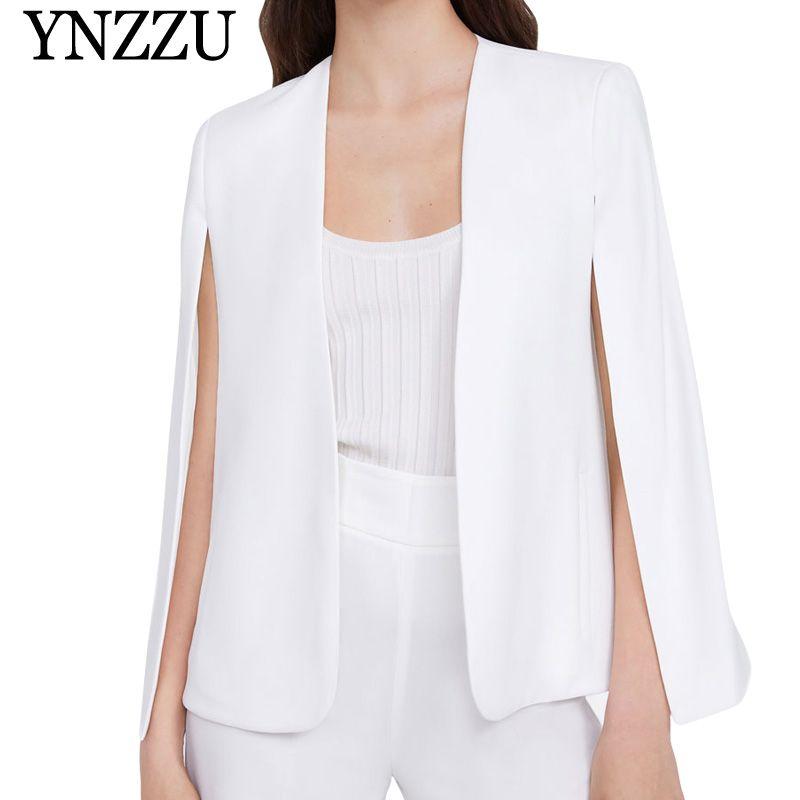 d965a568b6 2019 Elegant White Poncho Office Lady Cloak Open Front Blazer 2019 Autumn  Split Modern Lady Workwear Spring Women Suit Coats AO946 From Estacyliu, ...