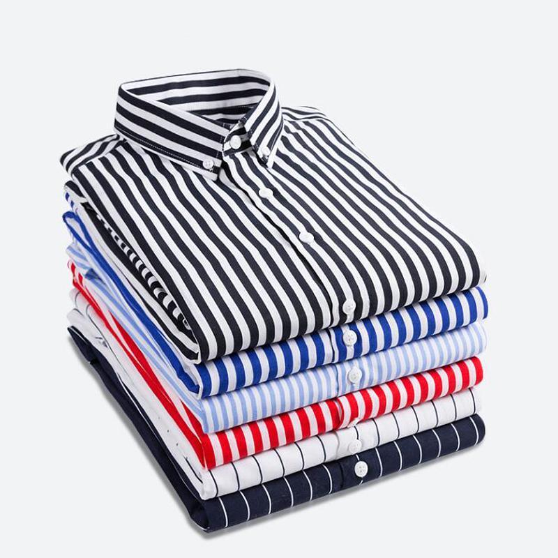 new product 49047 4dc1a Camicia Uomo 2019 Maniche lunghe a righe Camicie uomo Camisa Masculina  Primavera Estate Marca Camicia uomo casual Top Plus size 5XL