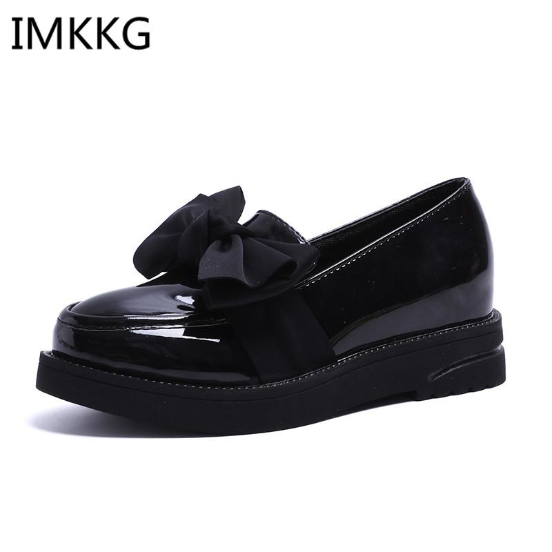 cb9605ae2d6 Flats Women Shoes Bowtie Loafers Patent Leather Elegant Low Heels Slip On  Footwear Female Round Toe Thick Heel F080 Boat Shoes For Men Navy Shoes  From ...
