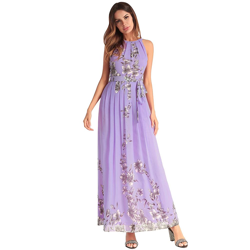 6124337afd Fashion Women Boho Dress Floral Print Chiffon Maxi Dress Halter Sleeveless  Summer Beach Prom Long Dress Vestidos Verano 2019 Cute Casual White Dresses  White ...