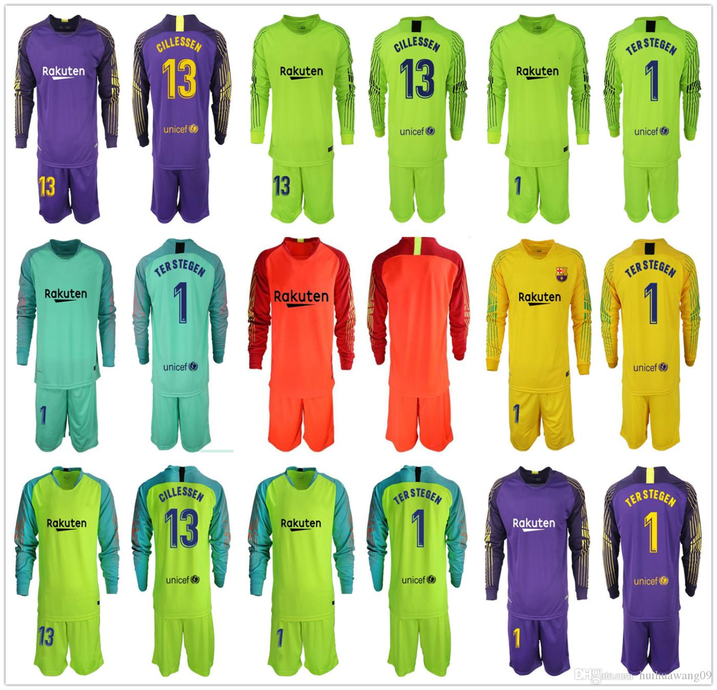 0eccce58382 2019 18 19 Adults GK Set Long  1 Ter Stegen Goalkeeper Jerseys 13 Cillessen  Soccer Sets Marc Andre Ter Stegen Football Kit Goalie Uniforms Men From ...