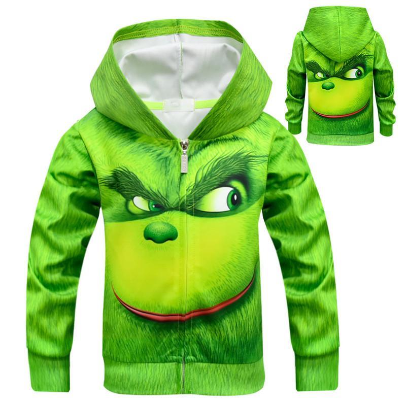 3514ec49836d 2018 Christmas Dr. Seuss  The GRINCH FACE Printed Hoodies Coats ...