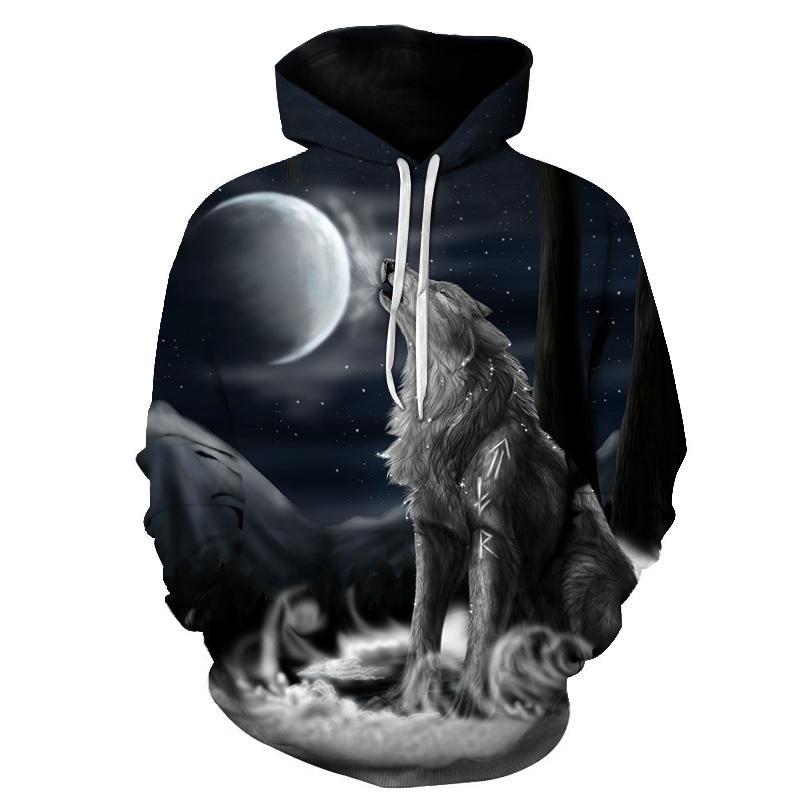 0a19cfefe1ee Wolf Hoodies 3d Print Animal Wolf Men's Hoody Sweatshirt Alisister Hip Hop  Unisex Pullover With Big Pockets Tops
