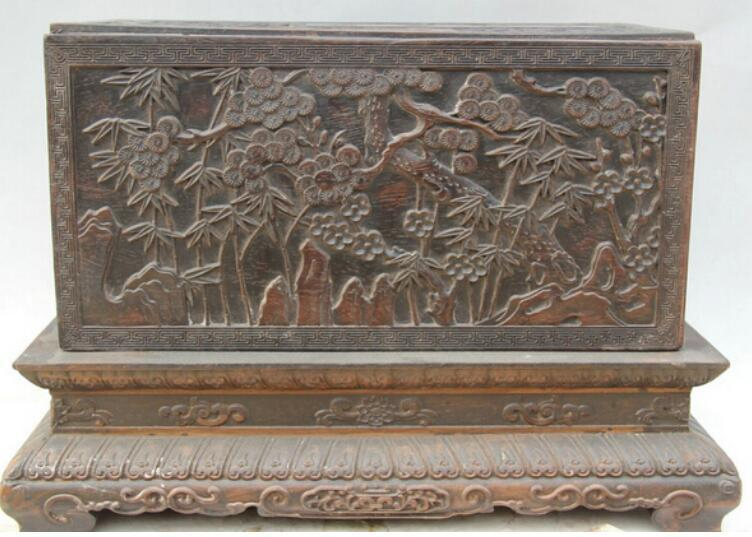 "NEW ""17"" Chinese dynasty palace Wood square plum blossom book casket box"