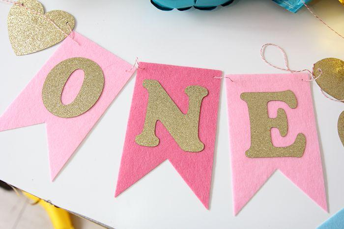 APRICOT Baby First Birthday Blue & Pink Color Chair Banner ONE Year 1st Birthday Party Decoration Boy Girl Bunting Supplies