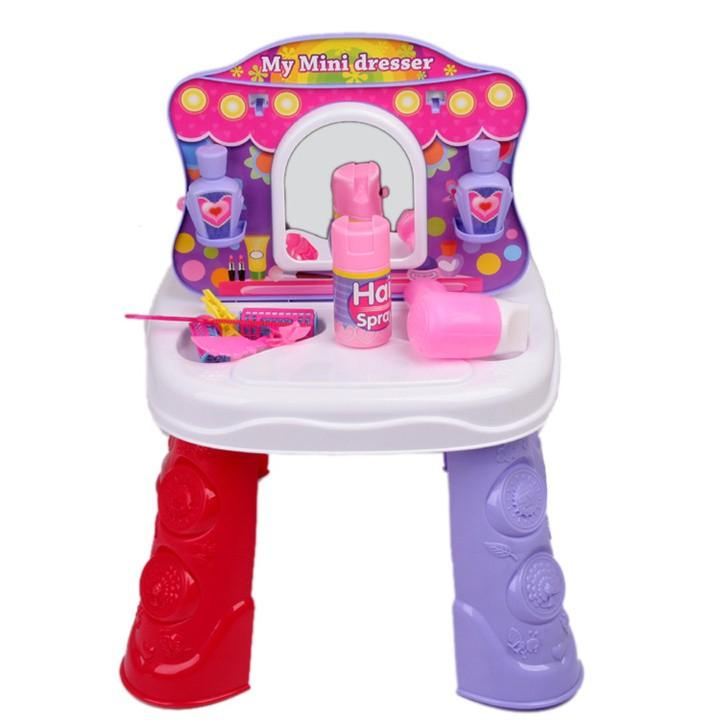[TOP] Play house toys 2 IN 1 Kitchen set & Dresser mirror/Hair dryer/comb/Hair spray/pan/spoon/kitchen items toys girl gift