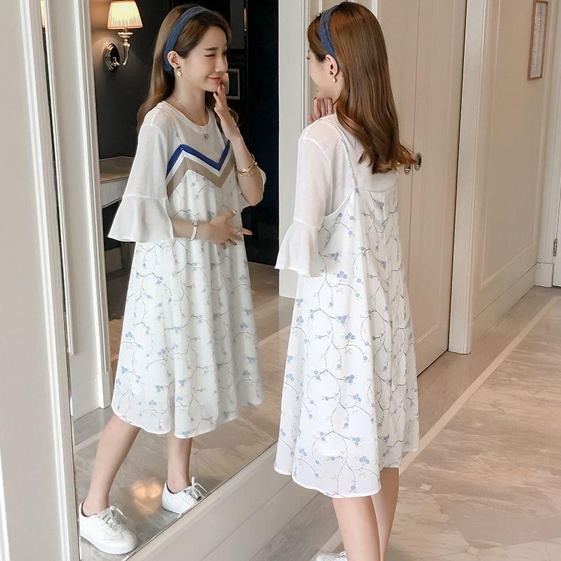 39d57a2bf3923 Mutterschaft tragen Sommer neue mütterliche tragen 2019 T-Shirt  V-Ausschnitt Blume Hosenträger zweiteilige Kleider
