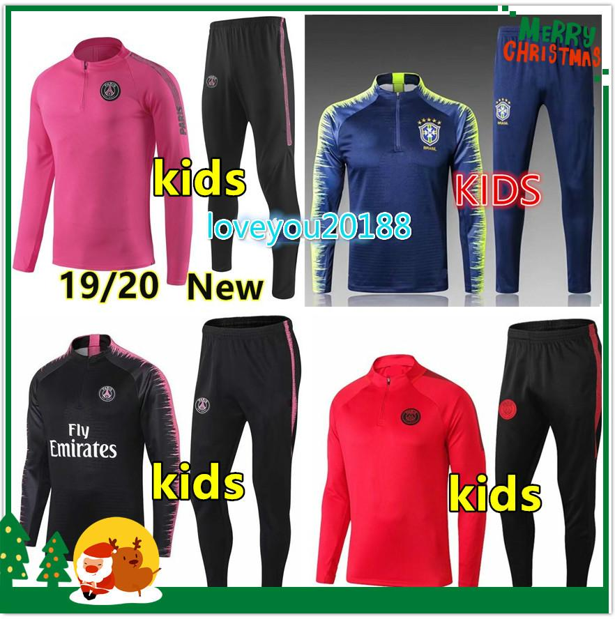 grossiste 39540 fc87f Survêtement de football psg enfant 2019-2020 survetement psg jordan enfant  football jogging 18/19 kids survetement football portugal Brésil