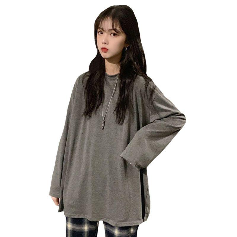 74f9eda219fe Camisetas sueltas Mujeres Ropa Coreana Suelta Manga Larga Parte inferior  Sólida Camiseta Tops Mujer Mujer Ropa Camisetas Mujer