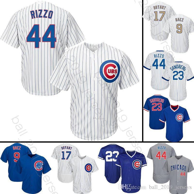 various colors ba25e 30779 44 Rizzo 9 Baez 17 Kris jersey Chicago baseball jerseys Cubs 2019 new men T  shirt Jerseys