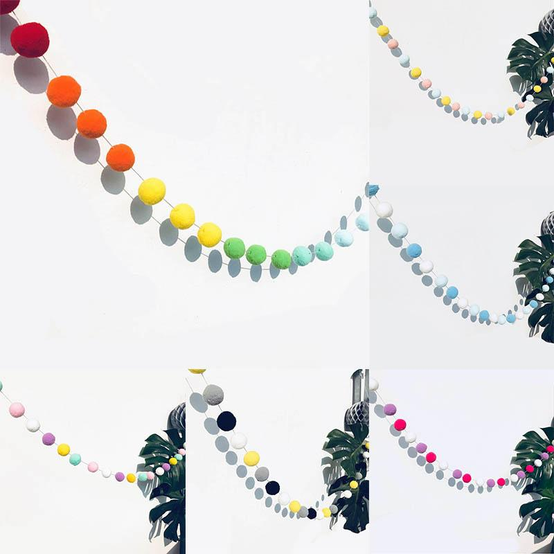 1 Pack Round Plush Ball Wedding Festival Supplies Garland Macarons Birthday Party 2.5M Venonat Decorations For Home Kids Rooms