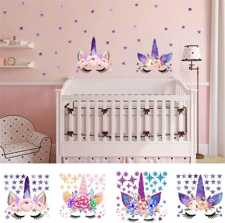 Three Style DIY Unicorn Stickers Cartoon Star Wall Stickers Star ...
