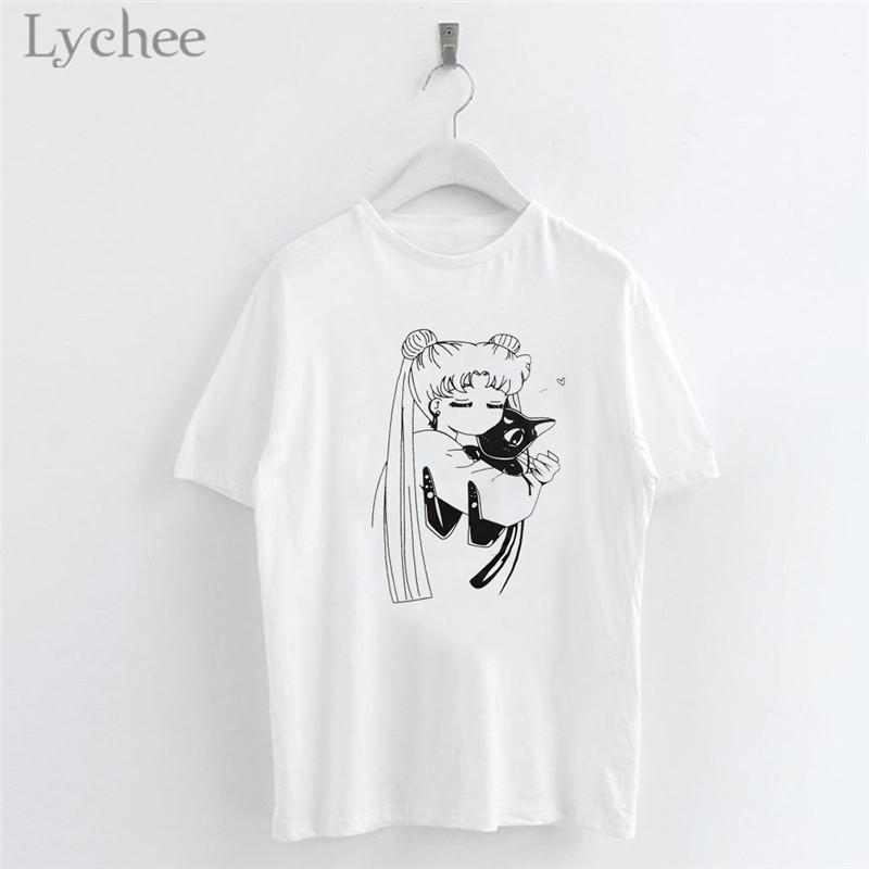 Lychee Harajuku Sailor Moon Cartoon Print Women T Shirt Casual Short Sleeve O-Neck White T Shirt Tee Top Female