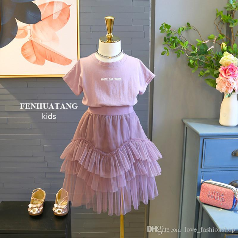 2019 New Baby Girls Letter Tshirts Tulle Skirts Sets 2pcs Suits Short  Sleeve Tshirt+layer Ruffle Tutu Skits Kids Outfits Girls Clothing Sets