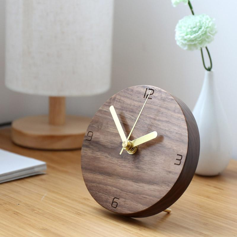 Japan Style 5 inches Mute Wood Wall Clock Needle Table Pendulum Clock  Creative Cesign Home Office Decoration Living Room Watch