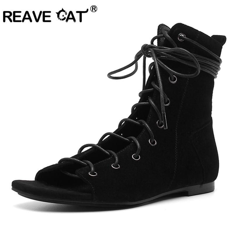 a58c0e4d1 Compre REAVE CAT Zapatos Mujer Botines Botas De Verano Damas Planas Con  Zapatos Corbata Con Cremallera Flock Nuevo Cool Negro Marrón Mujer A1871 A   67.34 ...