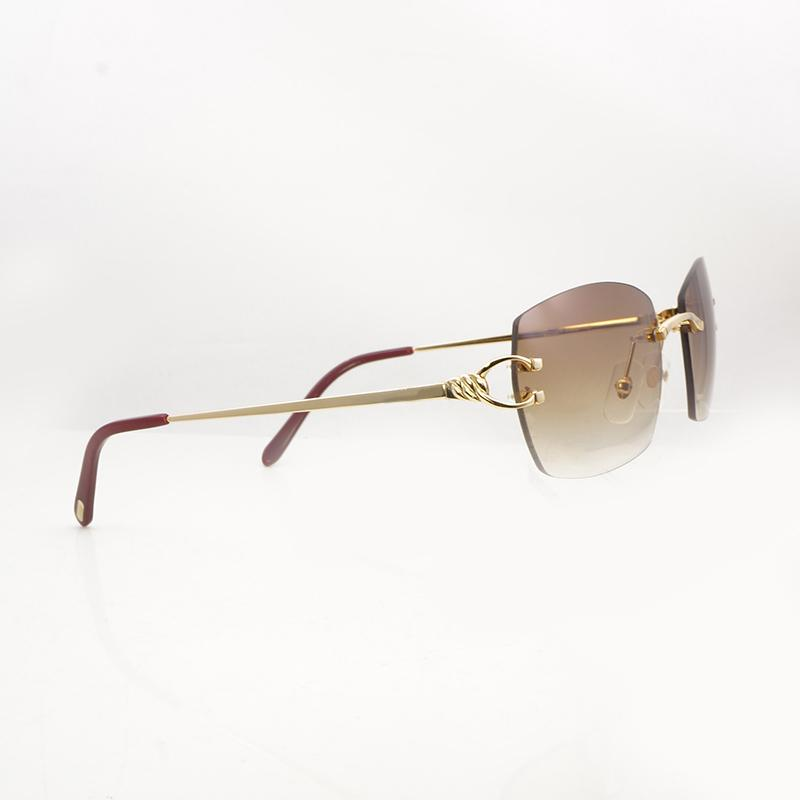464fef415 Compre Quadros Sem Aro Do Vintage Óculos De Sol Quadrados Homens Gafas De  Metal Óculos De Sol Armação De Ouro Eyewear Mulheres Para O Exterior E  Clube ...