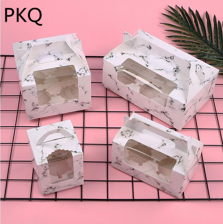 10pcs Portable West Point Baking Packaging Gift Box With Window Cupcake Takeaway Packing Box Wedding Cake Candy Biscuits