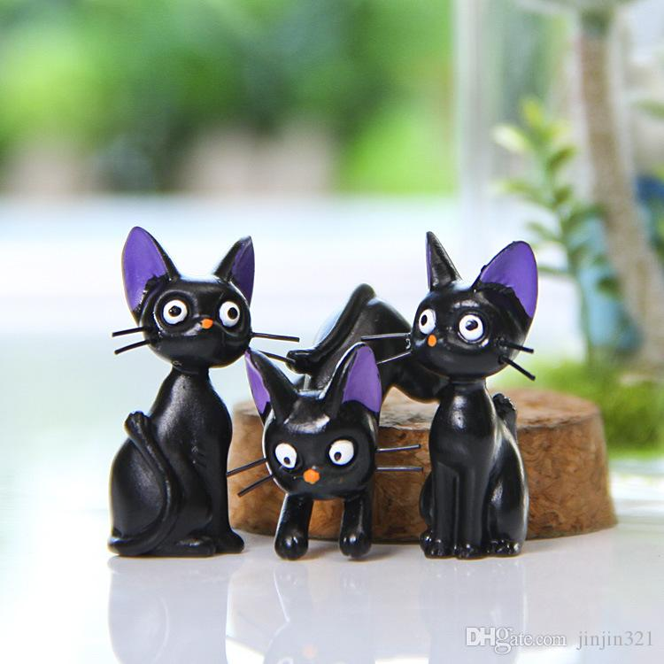Korean version of the Jiji cat Action Figures black mini cat DIY wild micro landscape gardening meaty landscaping doll Room Decoration