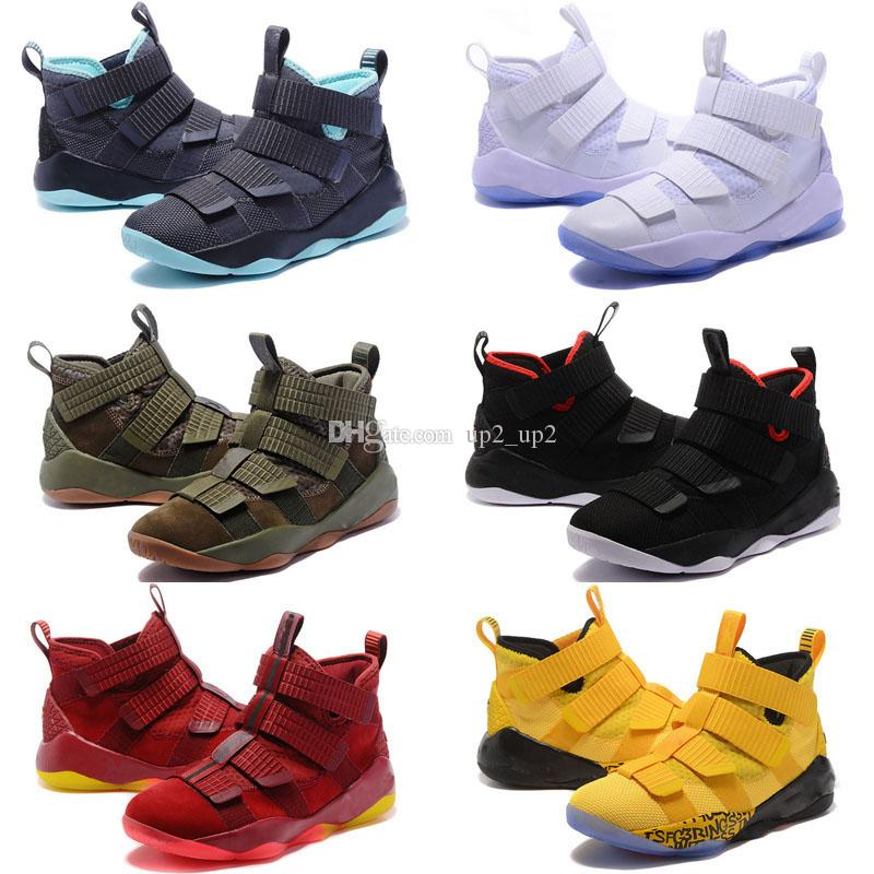 best cheap bf003 e31c2 Wholesale Lebron Soldiers 11 XI Outdoor Shoes Cavs Green Camo White Ice for  Men Top quality Man-at-arms XI Outdoor Shoes