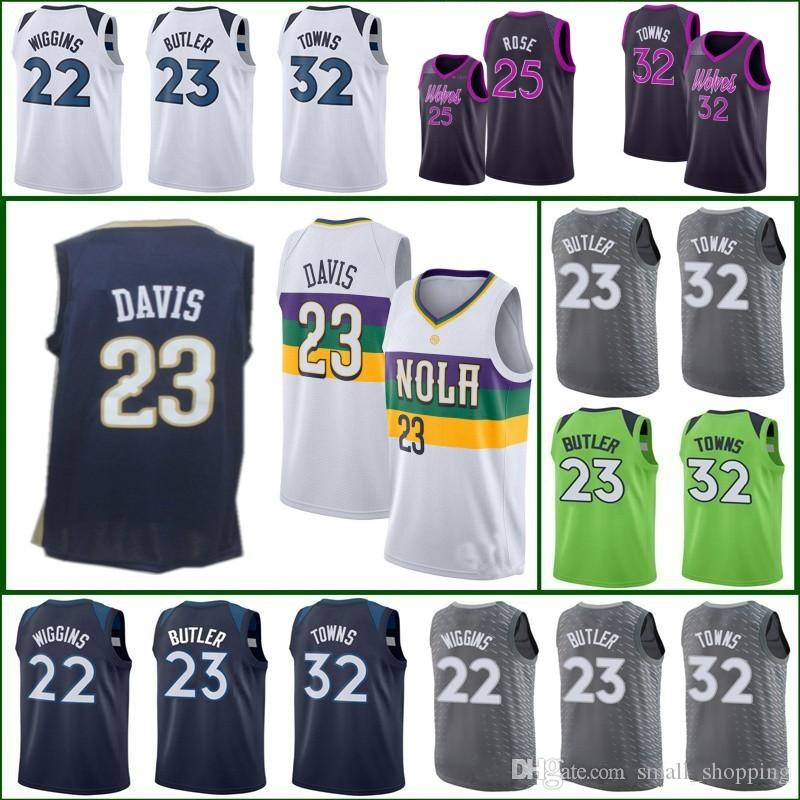 competitive price 79904 78fa1 2019 TIMBERWOLVES 22 Andrew Wiggins 25 Derrick Rose MINNESOTA Jersey  Pelicans Anthony Davis 32 Karl-Anthony Towns New Orleans City