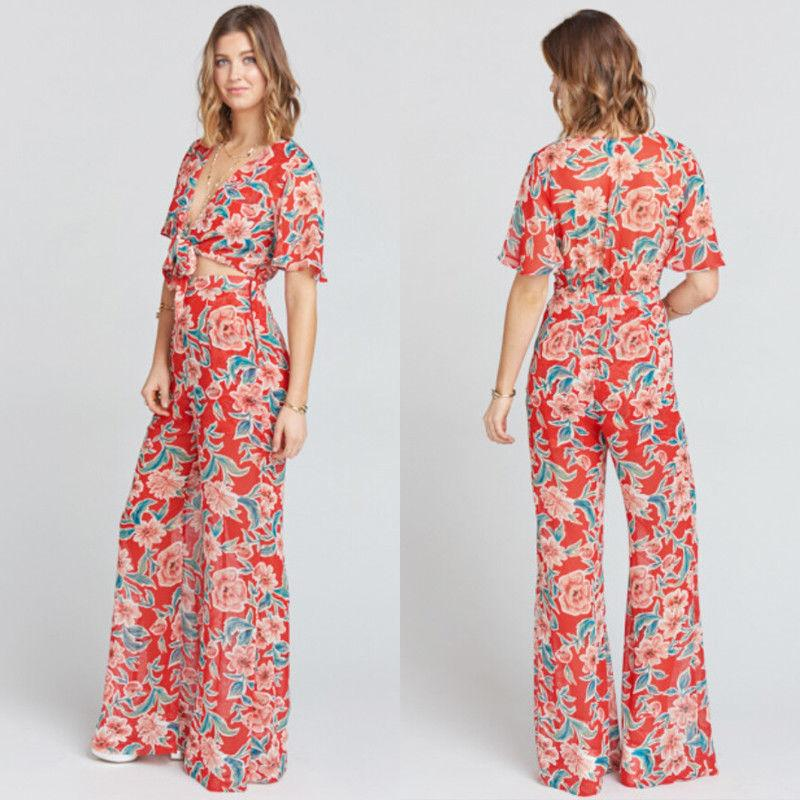 accce8649066 2019 2019 Fashion Sweet Bohemian Women Ladies Summer Jumpsuits Short Sleeve  Deep V Neck Belt Floral Print Jumpsuits Size S 2XL From Feeling09
