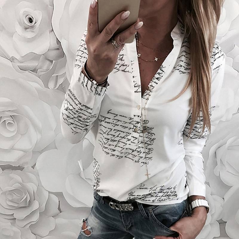 0191431ce Compre Camisas Das Mulheres 2019 Primavera Verão Nova Manga Longa Inglês  Alfabeto Impressão Blusas Brancas Com Decote Em V Das Mulheres Tops Blusas  Blusa ...