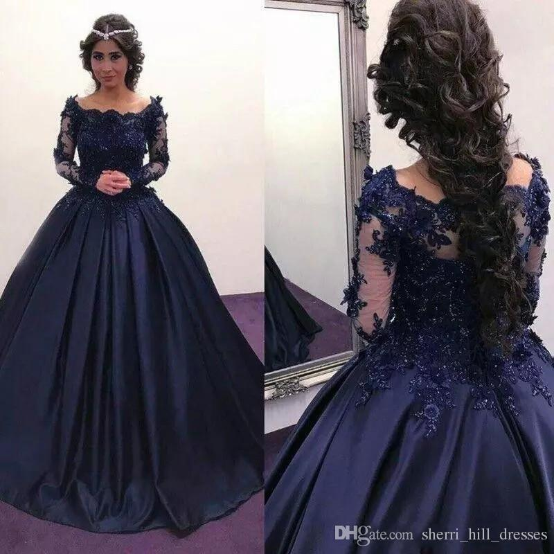 c0792ca4bec869 Sparkly Vintage Evening Dresses Cheap Long Sleeves Beads Crystals Ruffled  Sweep Train Plus Size Arabic Navy Blue Lace Formal Prom Gowns Black Evening  Maxi ...