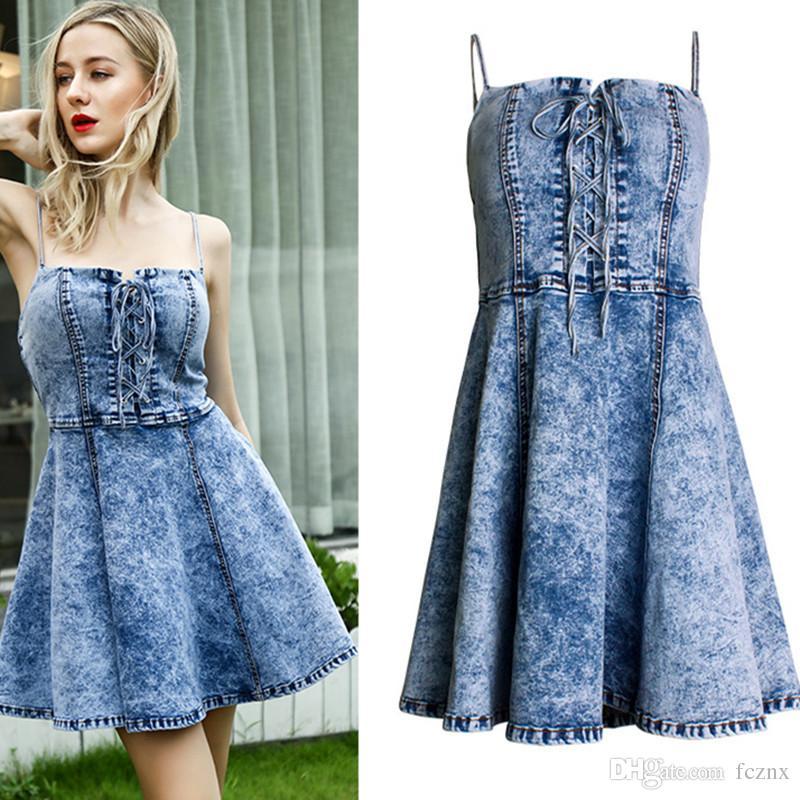 09dfe64e 2019 Women Clothing Strapless Lace Up Zipper Snow Wash Strap Denim Dress  Female Casual Fashion Backless Slim Mini Jean Dresses SL081# Green Dress  Pink Dress ...