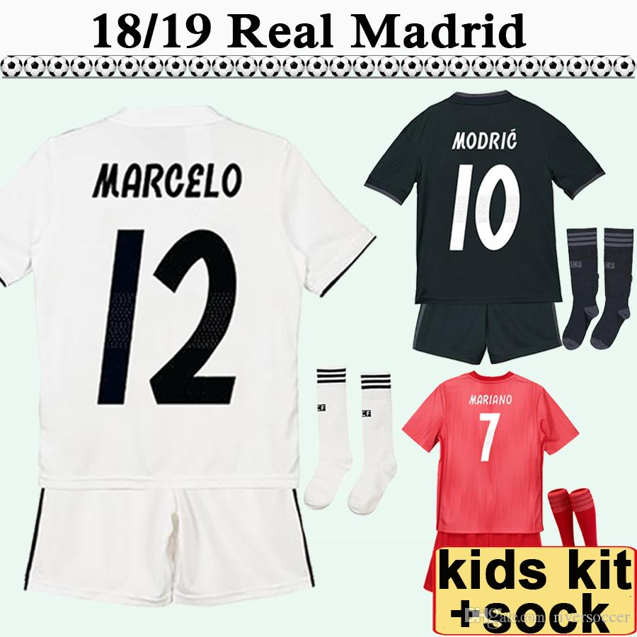 50b7602c9 2019 18 19 Real Madrid MARIANO MODRIC Kids Kit Soccer Jerseys MARCELO  SERGIO RAMOS Home Away 3rd Football Shirt BENZEMA Child Camisetas De Fútbol  From ...