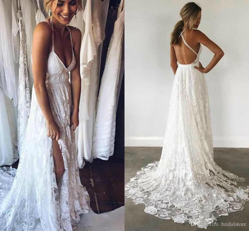 Newest White Lace Sexy Backless Long Party Prom Dress Sweep Train Spaghetti  V Neck Special Occasion Gowns For Women Dresses Evening Wear Childrens Prom  ... 567ea5242
