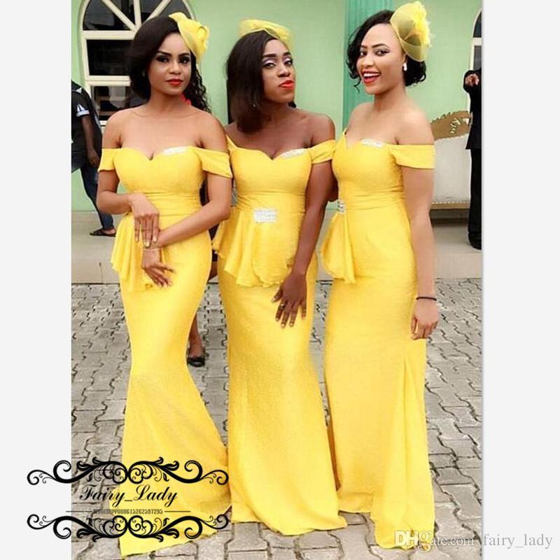 f5ee56c513 Vestidos de dama de honor largos amarillos fuera del hombro para mujeres  2019 Precio al por mayor Mermaid Lace Up Back Vestido de dama de honor  Vestido ...