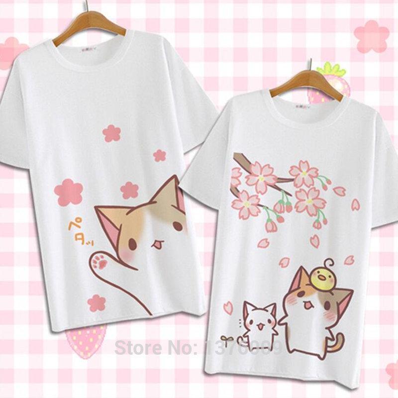 Vestidos Neko Anime Casual D Shirt Shirts Chat Mignon T Été Blusa Filles Harajuku 2018 Chemises Lolita Femmes Courtes Tops Japon Atsume Manches 8vmN0wn
