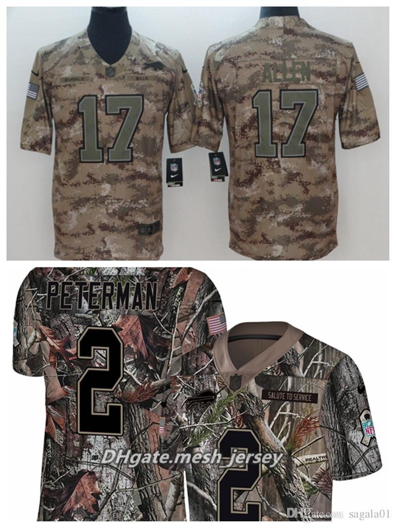info for 3c803 dd8b2 Men Buffalo Bills Football Jersey 17 Josh Allen 2 Peterman Camo Salute to  Service Limited Stitching Jersey